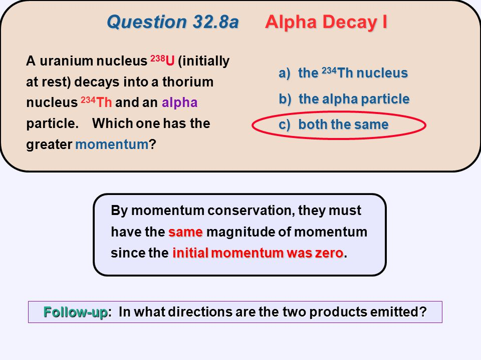 Question 32.8a Alpha Decay I