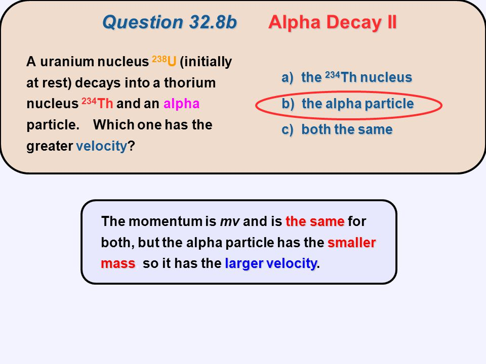 Question 32.8b Alpha Decay II