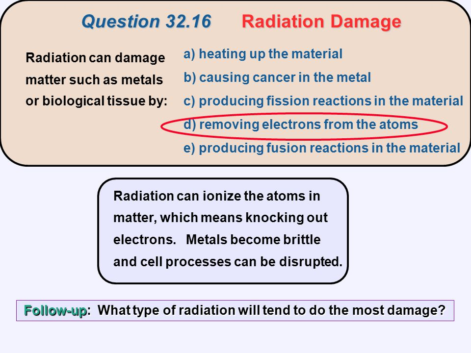Question 32.16 Radiation Damage