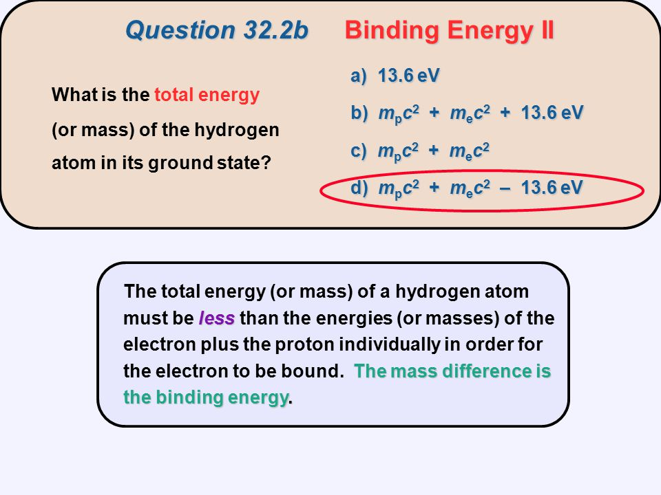 Question 32.2b Binding Energy II
