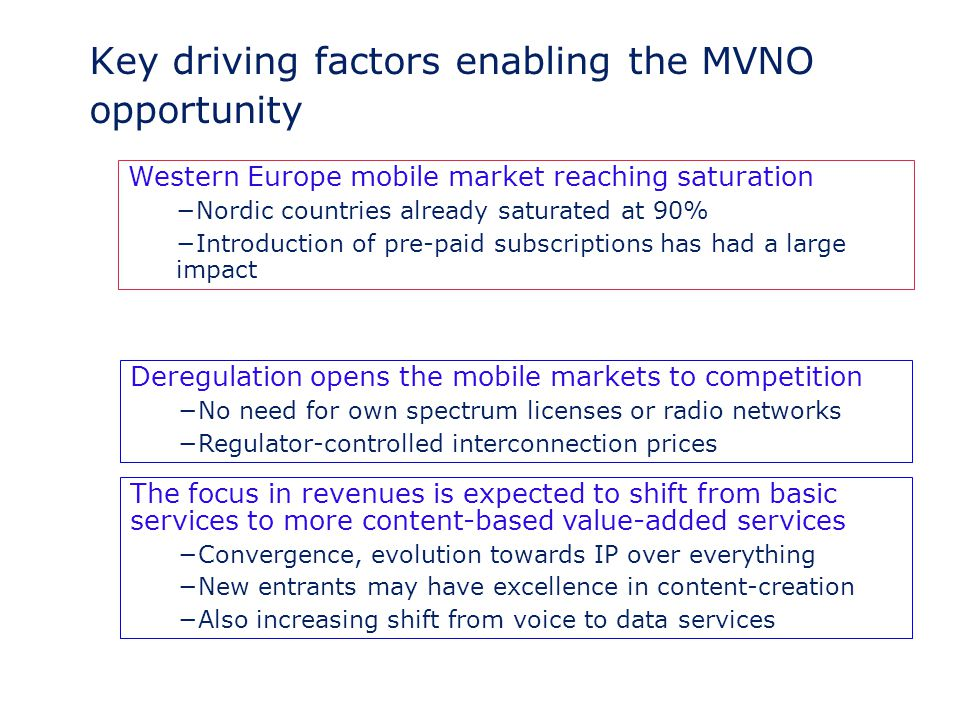 Key driving factors enabling the MVNO opportunity