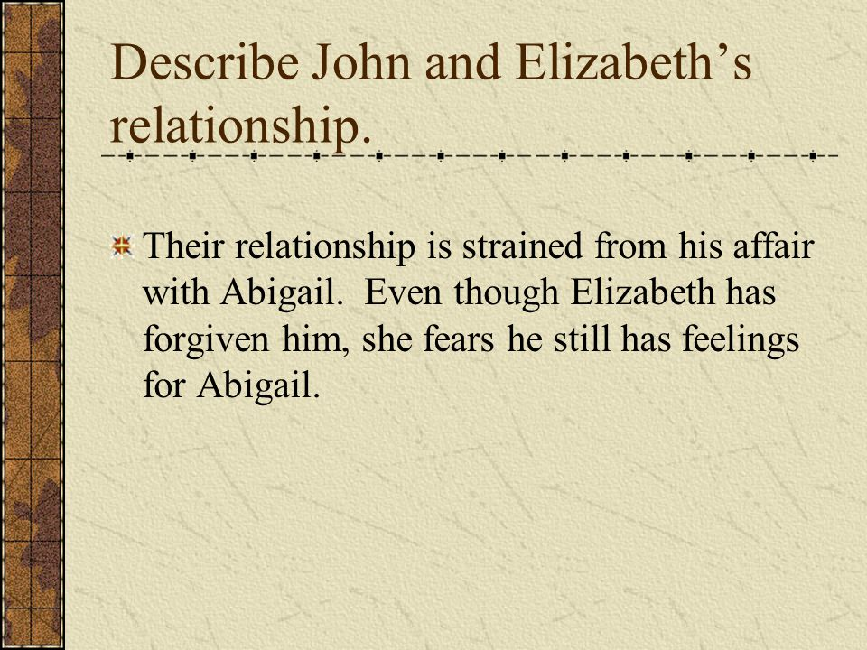 Describe John and Elizabeth's relationship.