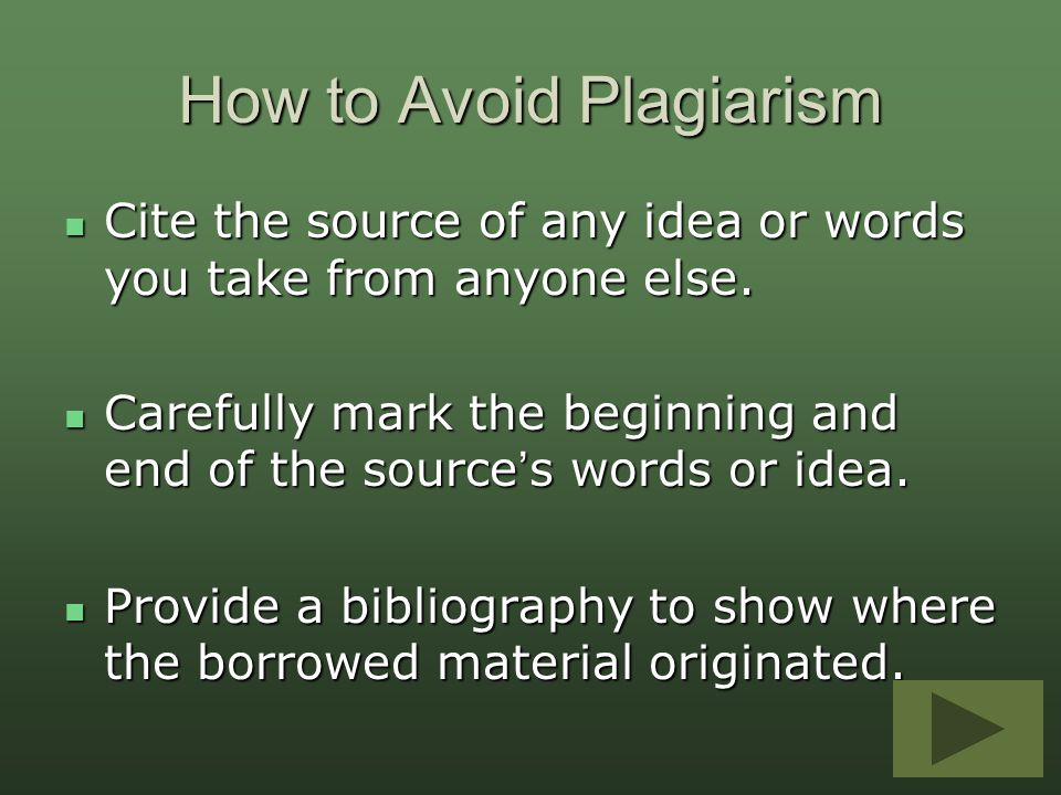 How to Avoid Plagiarism