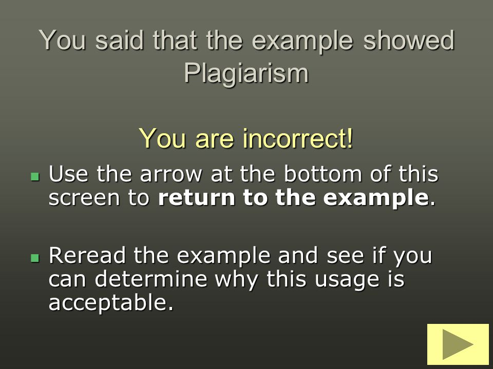 You said that the example showed Plagiarism You are incorrect!