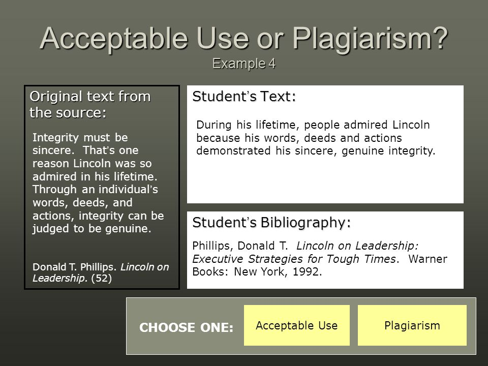 Acceptable Use or Plagiarism Example 4