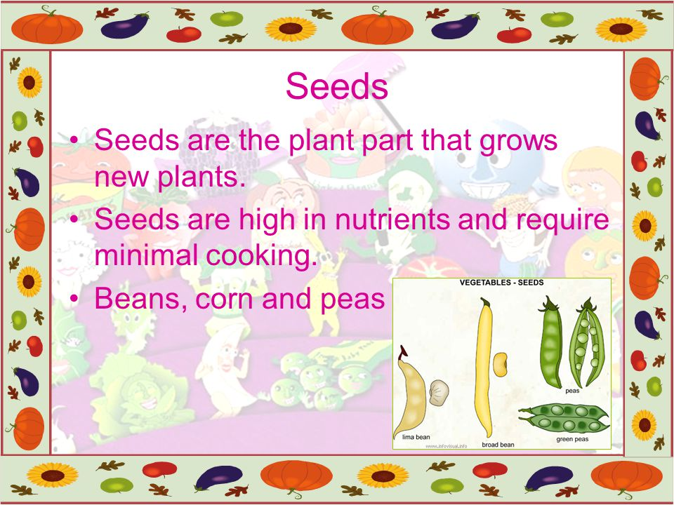Seeds Seeds are the plant part that grows new plants.