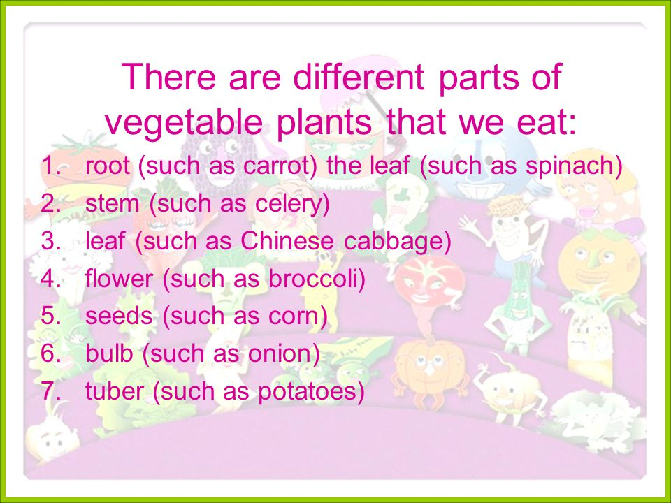 There are different parts of vegetable plants that we eat: