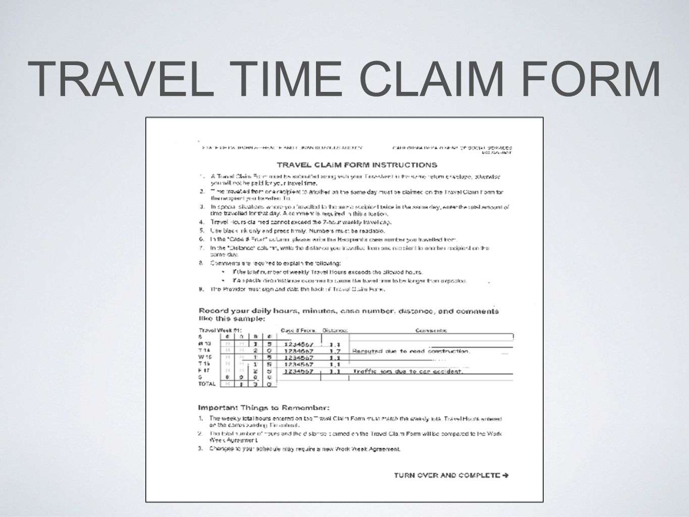 TRAVEL TIME CLAIM FORM