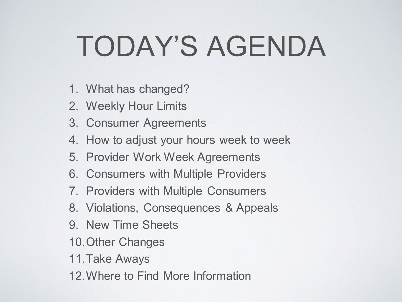 TODAY'S AGENDA What has changed Weekly Hour Limits