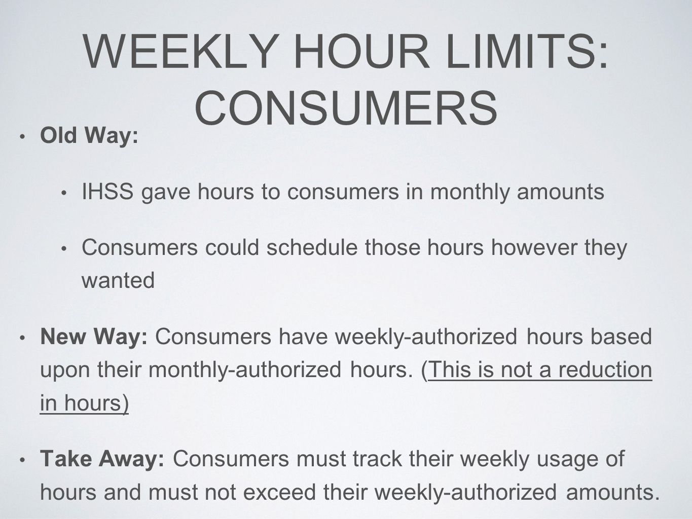 WEEKLY HOUR LIMITS: CONSUMERS