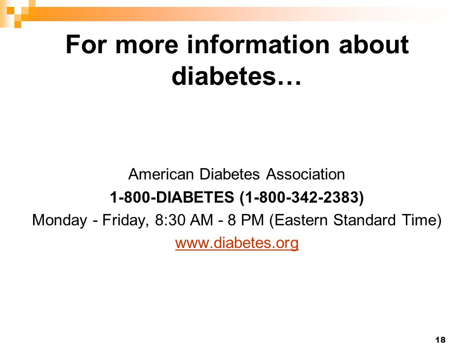 For more information about diabetes…