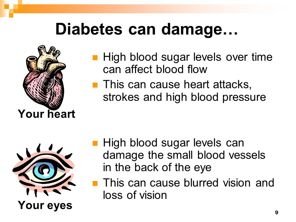 Diabetes can damage… Your heart. Your eyes. High blood sugar levels over time can affect blood flow.