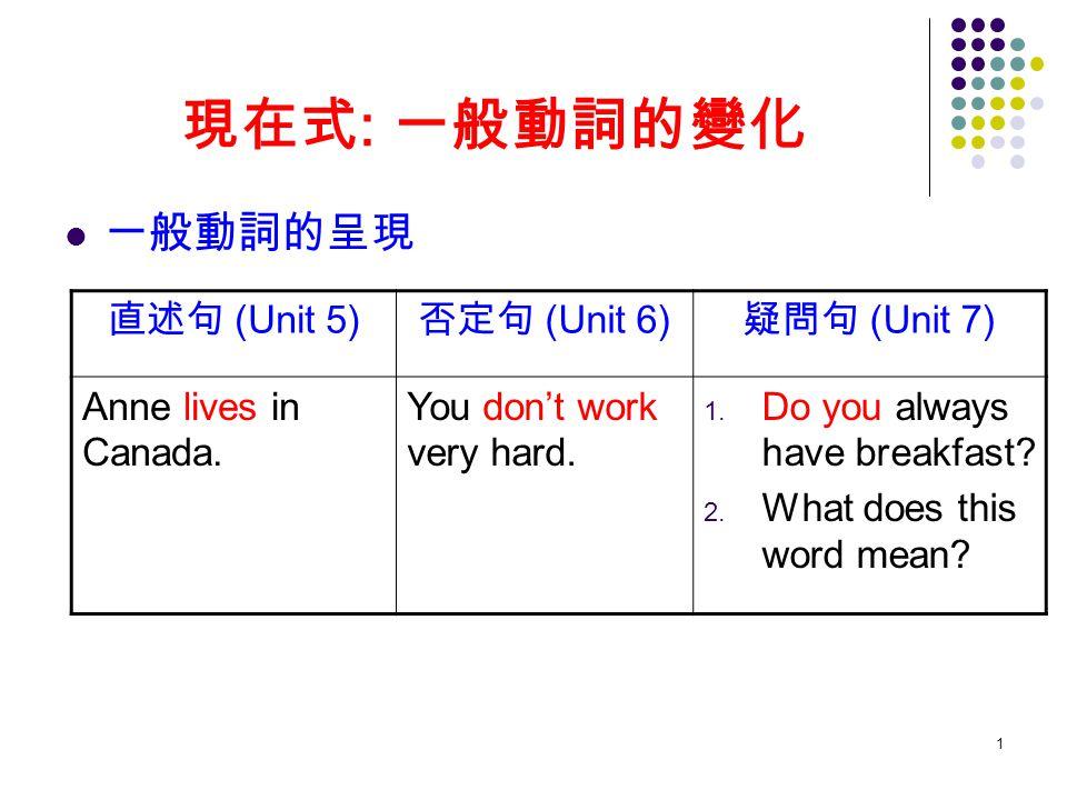 現在式: 一般動詞的變化 一般動詞的呈現 直述句 (Unit 5) 否定句 (Unit 6) 疑問句 (Unit 7)
