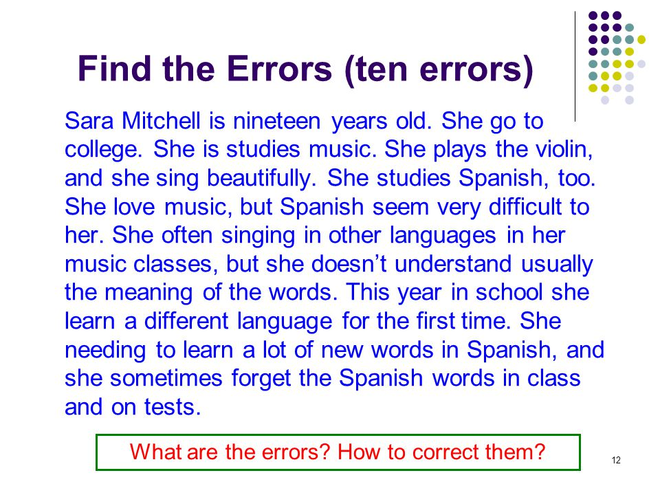 Find the Errors (ten errors)