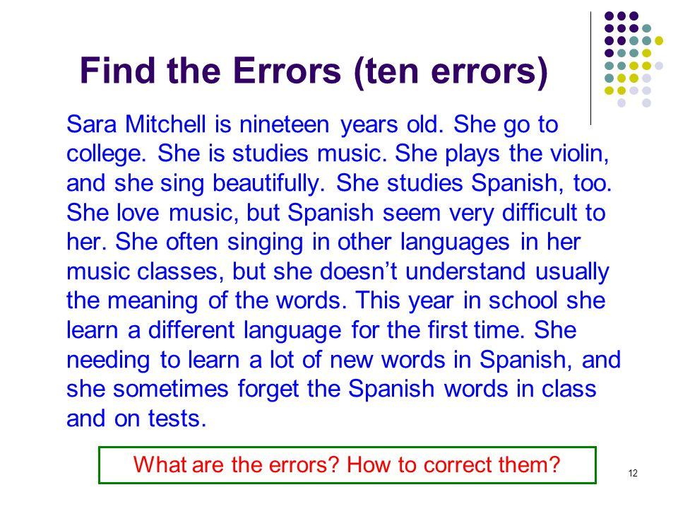 Find the Errors (ten errors)