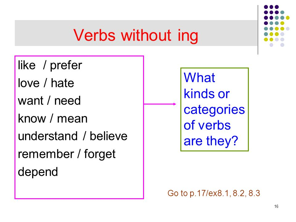 Verbs without ing What kinds or categories of verbs are they