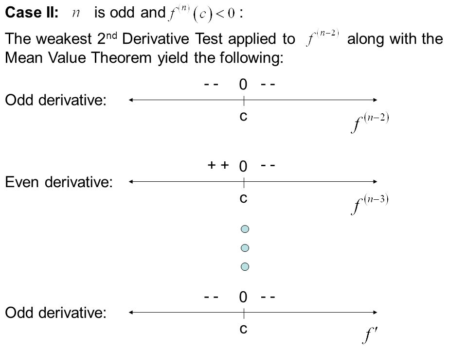Case II: is odd and : The weakest 2nd Derivative Test applied to along with the.