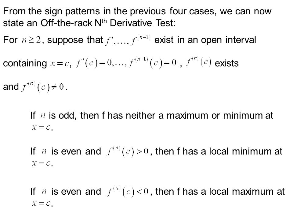 From the sign patterns in the previous four cases, we can now
