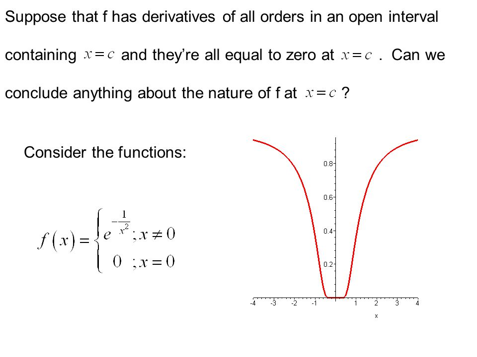 Suppose that f has derivatives of all orders in an open interval