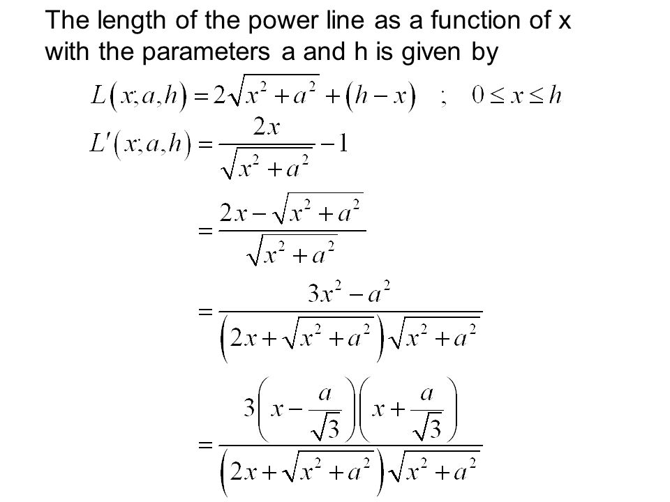 The length of the power line as a function of x with the parameters a and h is given by