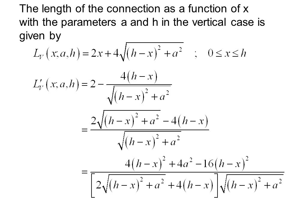 The length of the connection as a function of x with the parameters a and h in the vertical case is given by