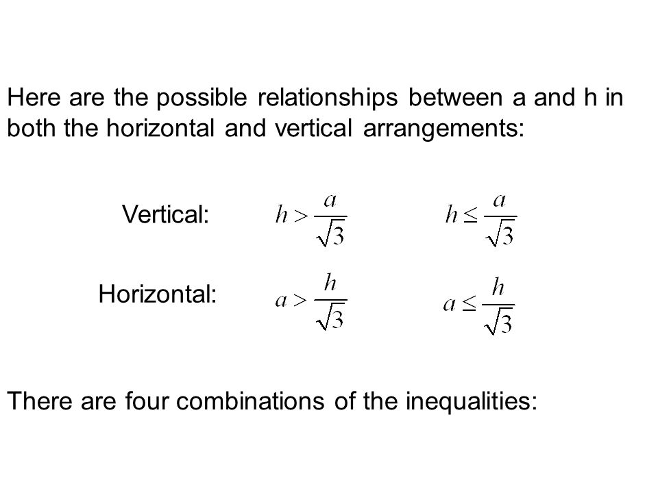 Here are the possible relationships between a and h in both the horizontal and vertical arrangements: