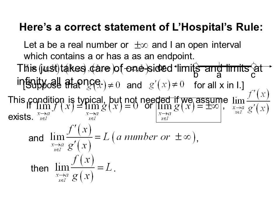 Here's a correct statement of L'Hospital's Rule: