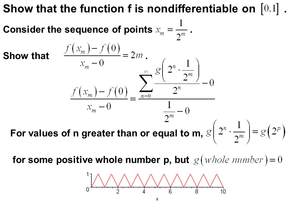 Show that the function f is nondifferentiable on .