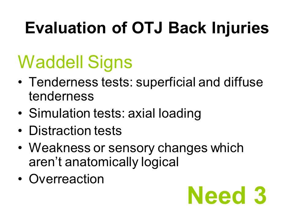 Evaluation of OTJ Back Injuries