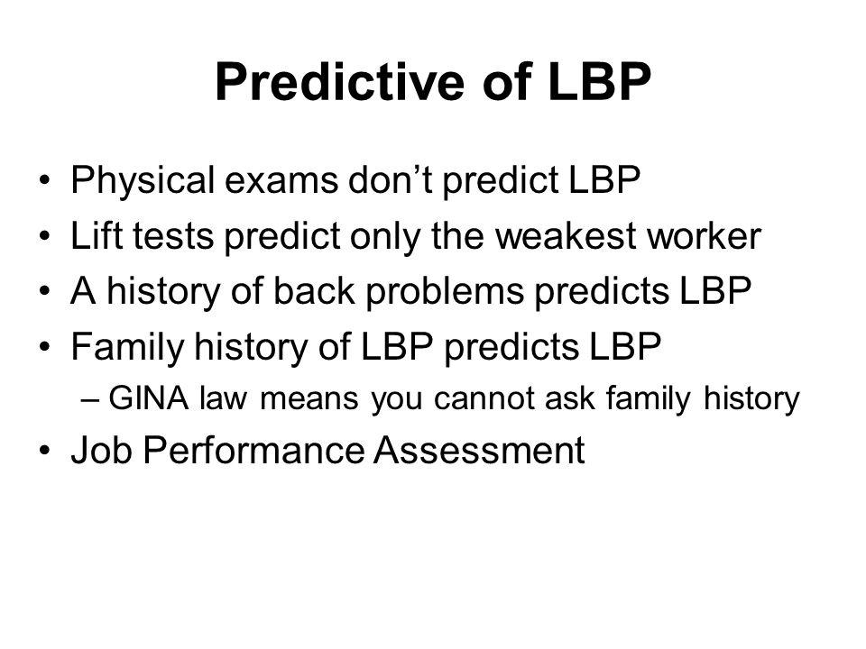 Predictive of LBP Physical exams don't predict LBP