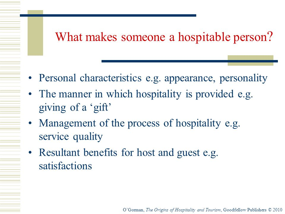 What makes someone a hospitable person