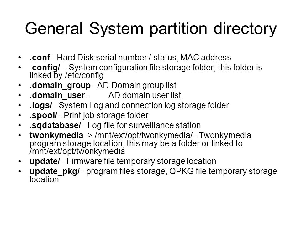 General System partition directory