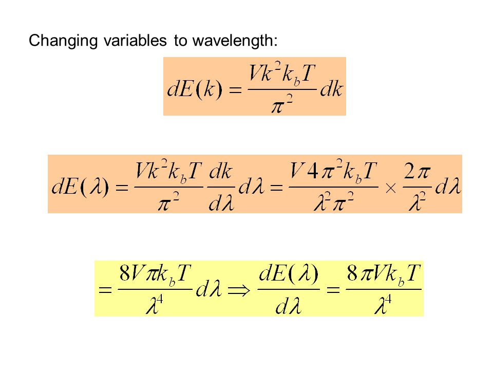 Changing variables to wavelength: