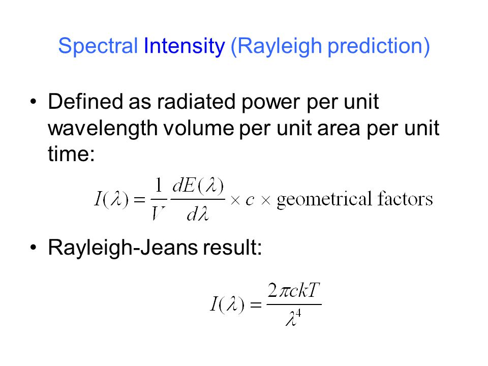 Spectral Intensity (Rayleigh prediction)