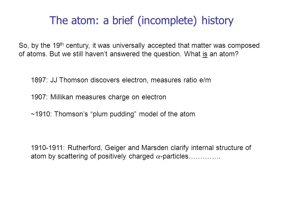 The atom: a brief (incomplete) history