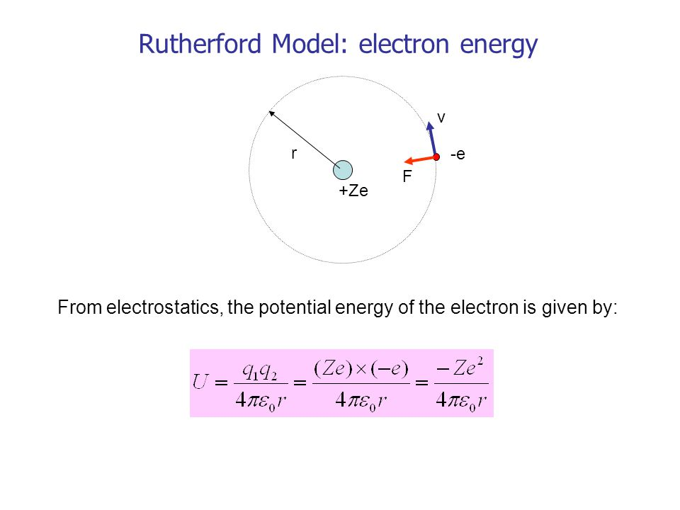Rutherford Model: electron energy