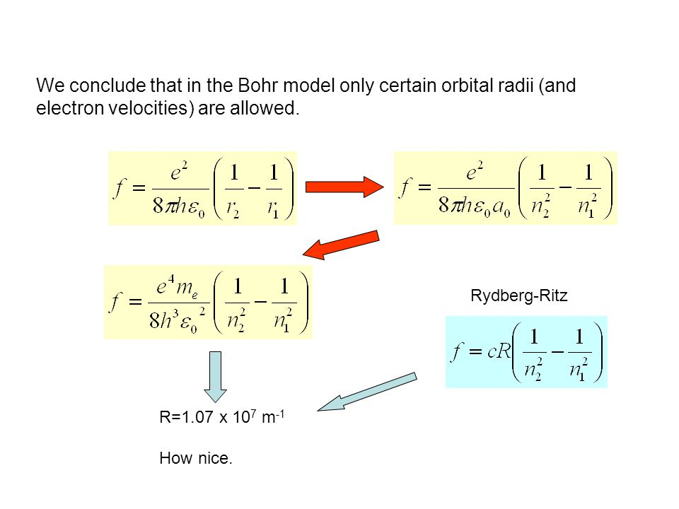 We conclude that in the Bohr model only certain orbital radii (and electron velocities) are allowed.