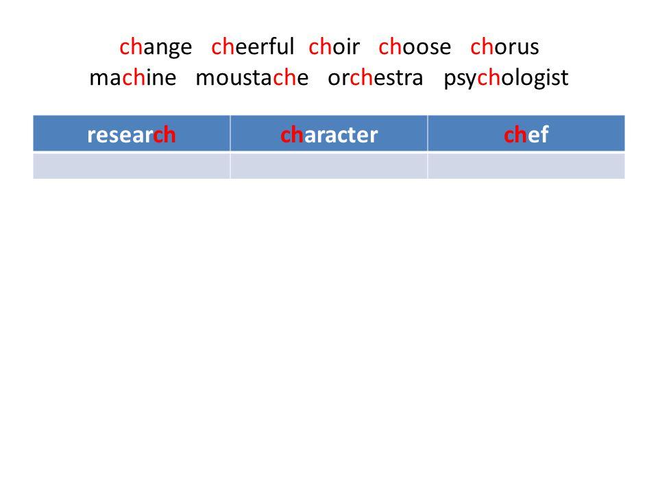 change cheerful choir choose chorus machine moustache orchestra psychologist