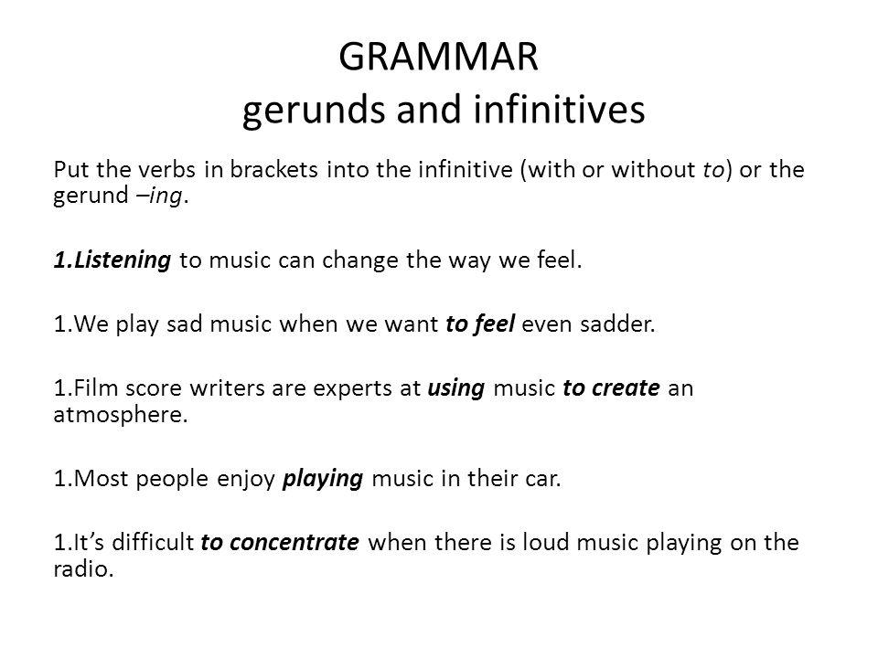 GRAMMAR gerunds and infinitives