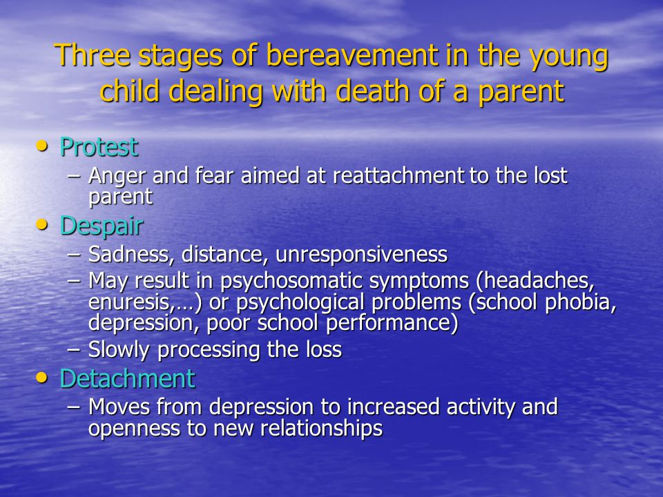 Three stages of bereavement in the young child dealing with death of a parent