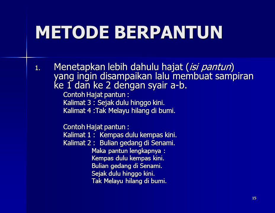 METODE BERPANTUN Menetapkan lebih dahulu hajat (isi pantun) yang ingin disampaikan lalu membuat sampiran ke 1 dan ke 2 dengan syair a-b.