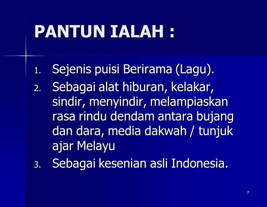 PANTUN IALAH : Sejenis puisi Berirama (Lagu).