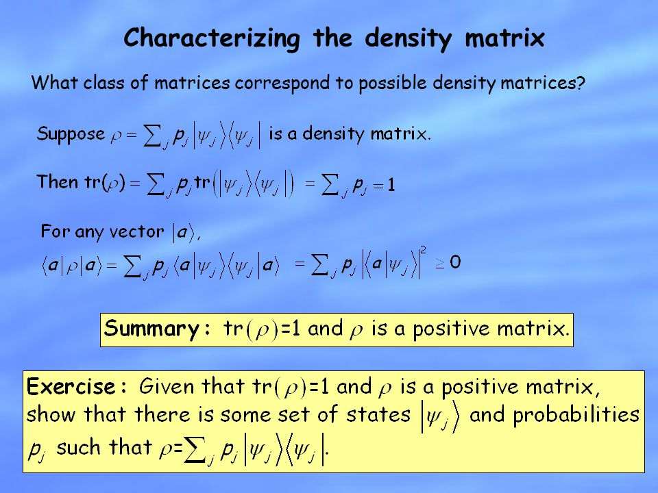 Characterizing the density matrix