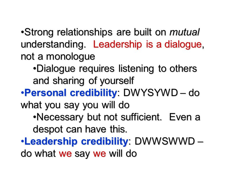 Strong relationships are built on mutual understanding
