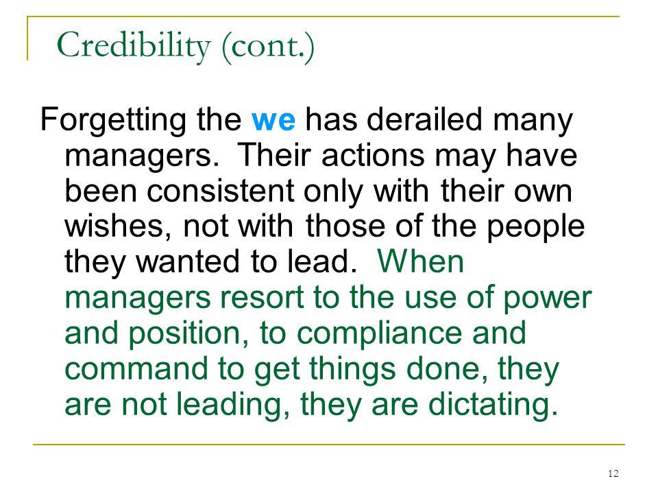 Credibility (cont.)