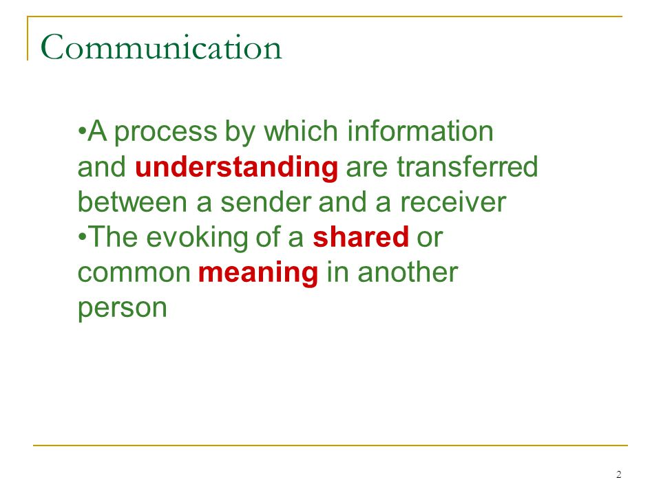 Communication A process by which information and understanding are transferred between a sender and a receiver.