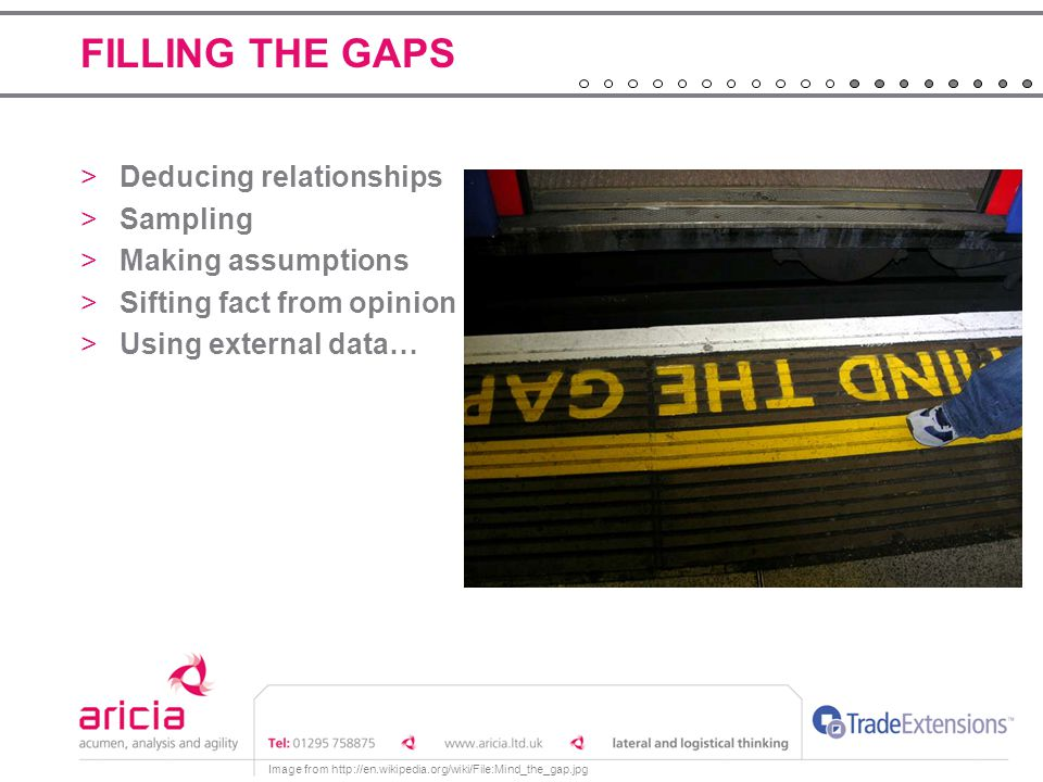 FILLING THE GAPS Deducing relationships Sampling Making assumptions