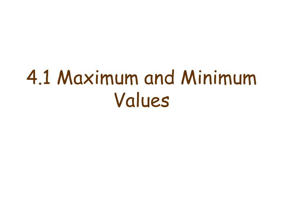 4.1 Maximum and Minimum Values