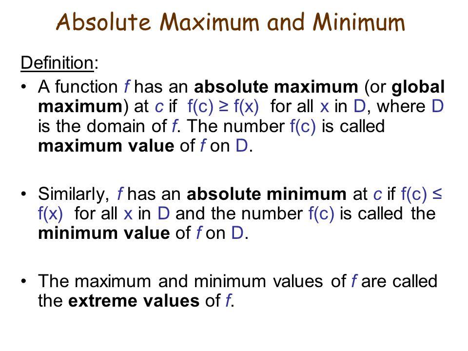 Absolute Maximum and Minimum