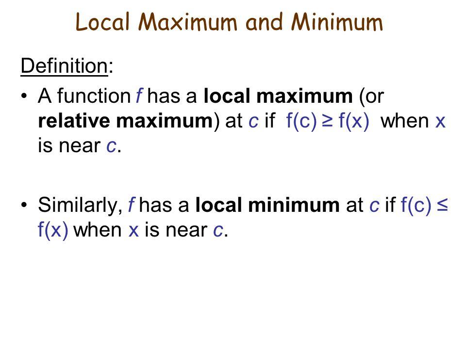 Local Maximum and Minimum